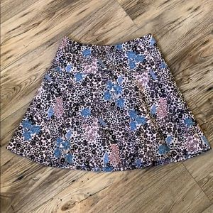 Loft Butterfly Floral Patterned Skirt Size 2